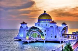 Malacca Straits mosque Malacca Indonesia