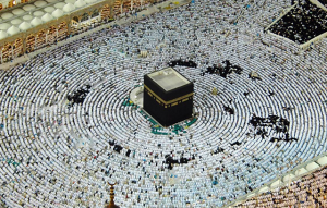 The Kaaba in Makka at prayer time